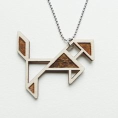 Tangram horse necklace  Laser cut from birch wood  Geometric pendant  Gift boxed
