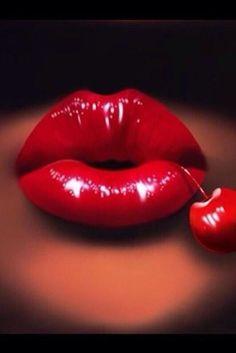 Gorgeous sexy cherry 🍒 lips 💋 on We Heart It Lipstick Art, Red Lipsticks, Orange Lips, Pink Lips, Cherry Kiss, Cherry Red, Cherry Baby, Love Lips, Kissable Lips