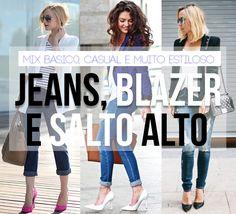 blazer, jeans e salto alto: casual chic