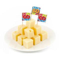 60 jaar prikkers verjaardag - 24 stuks  Vrolijke vlag prikkers met het cijfer 60.  EUR 0.95  Meer informatie