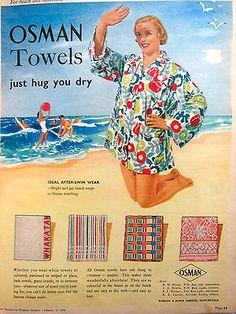 original vintage australian advertising 1950s Osman ad beach towel fashion print