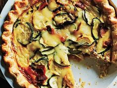 Summer Squash, Bacon, and Mozzarella Quiche Recipe