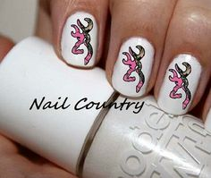 Super pretty camo Browning symbol nails