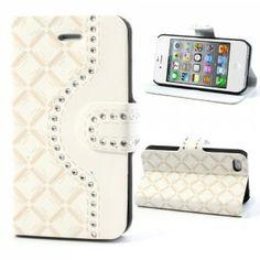 Lækkert hvid diamond side flip cover med plads til kort, passer til iPhone 4 - 4S. - Se i My New Covers Webshop om det er på lager.