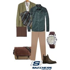 Suit over Skechers - semi-casual in shades of green by maria-kuroshchepova on Polyvore featuring Tommy Hilfiger, Scotch & Soda, 120% Lino, Kiton, Neiman Marcus and Skechers
