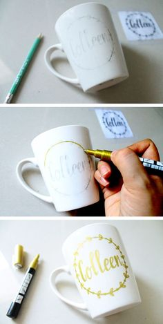 Want to make some DIY mugs and some free time in hand? Then it's the perfect time to use these DIY mugs ideas. Mug Crafts, Sharpie Crafts, Diy Sharpie Mug, Sharpie Shirts, Sharpie Projects, Art Projects, Plate Crafts, Bead Crafts, Decor Crafts