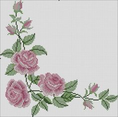 This Pin was discovered by sul Beaded Cross Stitch, Cross Stitch Borders, Cross Stitch Rose, Cross Stitch Flowers, Cross Stitch Designs, Cross Stitching, Cross Stitch Patterns, Diy Embroidery, Cross Stitch Embroidery