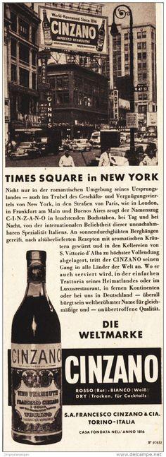 Original-Werbung/ Anzeige 1951 - CINZANO / TIMES SQUARE IN NEW YORK - ca. 65 x 200 mm