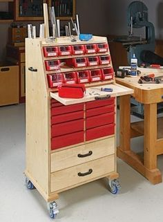 With simple plywood construction and a wide range of storage options, this cart holds a lot of supplies and lets you roll them right to the job at hand. #WoodworkIdeas