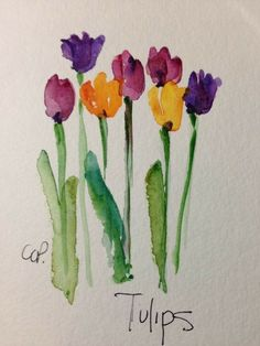 Tulips watercolor card by gardenblooms on etsy cards - water Watercolor Water, Watercolor Cards, Watercolor Print, Watercolour Painting, Watercolor Flowers, Painting & Drawing, Watercolors, Etsy Cards, Atelier D Art