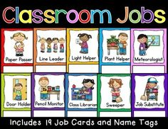 Back to School Preschool Job Chart, Preschool Jobs, Classroom Job Chart, Classroom Helpers, Preschool Graduation, Classroom Rules, Classroom Behavior, Special Education Classroom, Preschool Lessons