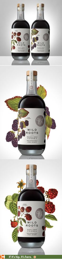 Vodka Packaging Design: Wild Roots Berry Infused Vodkas have lovely label designs by the Sasquatch Agency. Juice Packaging, Beverage Packaging, Bottle Packaging, Pretty Packaging, Brand Packaging, Packaging Design, Branding Design, Wine Label Design, Bottle Design