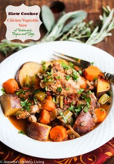Slow Cooker Chicken Vegetable Stew with Rosemary, Thyme and Sage Recipe ~ this rustic Fall stew comes together quickly and makes a great family dinner. Serve with a salad if you like. http://jeanetteshealthyliving.com