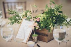 Elegant light pink + greenery wedding centerpiece idea - rustic wooden crate filled with greenery + pink flowers {Kane and Social} Beach Wedding Centerpieces, Wedding Reception Flowers, Rustic Wedding Centerpieces, Diy Centerpieces, Wedding Flower Arrangements, Reception Ideas, Wedding Decorations, Rustic Wedding Seating, Hamptons Wedding