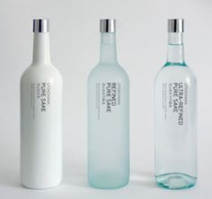 Sake bottle design. Serie reminds me of Clean perfumes.