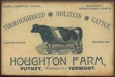 Wood Magnet~Cows~Holstein~Cattle~Farm~Vintage Style~87