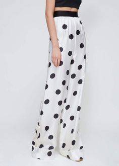 8492f0f94d2 Wide pull-on trouser in lightweight silk twill with large allover polka dot  print. Contrasting elasticated waist with light gathering below.