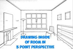 How to Draw the Inside of a Room with 3 Point Perspective Techniques - Step by Step Drawing Tutorial