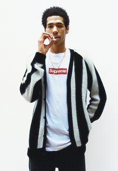 striped mohair cardigan - supreme