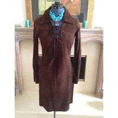 Cyber Monday Jill Stuart head turner 100% suede Jill Stuart chocolate brown suede dress. Lace up front and strong collar make a statement. Side zipper. Jill Stuart Dresses