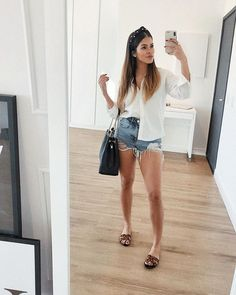 Basic Outfits, Short Outfits, Summer Outfits, Casual Outfits, Cute Outfits, Looks Style, Casual Looks, Cheap High Waisted Jeans, Look Fashion