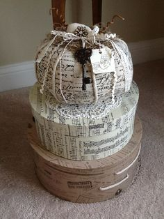 French script pumpkin on hat boxes