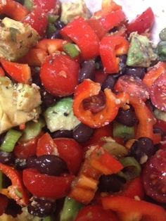 """Santa Fe Avocado Salad - this colorful side dish can accompany virtually any entree. (The """"prepared seasoning mix"""" in the recipe means Mrs. Dash or any other all-natural seasoning blend you like.)"""