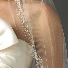 swarovski crystal beaded bridal veil
