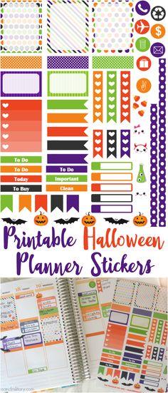 Free sheet of printable Halloween stickers sized for Erin Condren Life Planner - Cricut & PDF files - munchkinsandmilitary.com