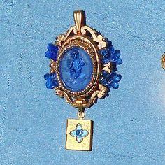 Vintage Blue Glass Cherub & Bow Cameo with Tiny Vintage Locket  by emenow, $49.90