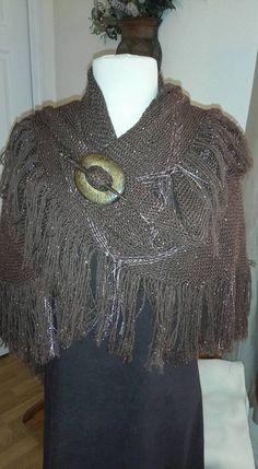 Handwoven Triangle Loom Shawl - merino wool