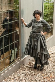 Steampunk Skirt - Pirate Renissance Fashion - High Low Hem - Asymmetrical Circle Grey Long Ruffle - Custom to your size by KMKDesignsllc on Etsy