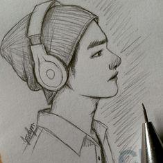I didn't draw this bts jungkook, bts boys, drawing sketches, croquis Kpop Drawings, Cool Art Drawings, Pencil Art Drawings, Art Drawings Sketches, Cartoon Drawings, Taehyung Fanart, Kim Taehyung, Bts Jungkook, Art Sketchbook