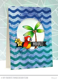 Polynesian Paradise stamp set and Die-namics, Wave Background - Mayuri #mftstamps