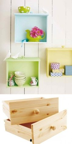 Diy Crafts Ideas : Colorful shelves from recycled drawers.