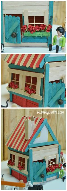 Detalle de una casa hecha con palos de helados