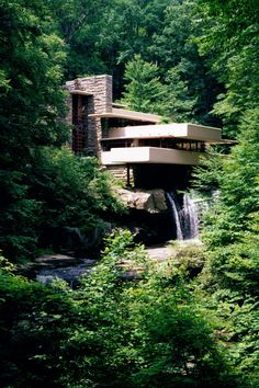 """Fallingwater or Kaufmann Residence is a house designed by architect Frank Lloyd Wright in 1935 in rural southwestern Pennsylvania, 50 miles southeast of Pittsburgh."""