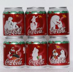 Coca Cola 6 cans set from Mexico, Christmas - 237ml (2004)