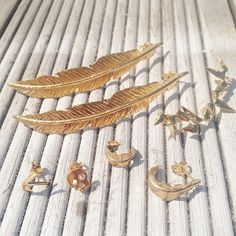 @DaisyKnights // A few of my gold vermeil earrings. Feather, skulls, spikes // Britishmade