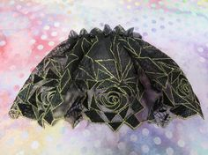 Handmade black with gold embroidered tulle lace by ElegantDoily