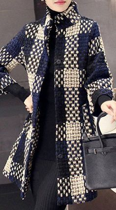 plaid woven coat