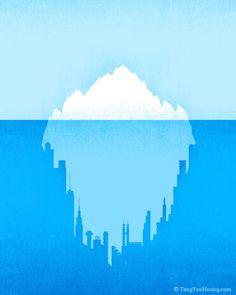A demostração artística do aquecimento global em dualidade com o derretimento dos icebergs, o que leva à inundações de cidades grandes...