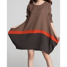 Casual Scoop Neck Color Block Loose-Fitting Long Sleeve Dress For Women