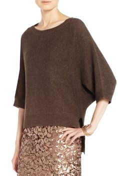 Fall Sweater Guide: Earthy and supercomfy, a high-fashion item that can take you from brunch to a fancy dinner. Kennedy Dolman Sweater, $228, BCBG Maxazria