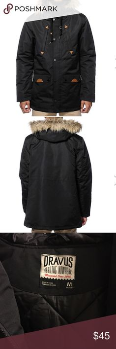 Dravus Goode Parka Jacket Stylish black puffy parka with diamond quilted lining and adjustable drawstring midsection. Zip up closure with snap button storm flap. Adjustable drawstring hood with snap button fur trim. Two zipper chest pockets. Two snap button pouch pockets with side entry. Elastic sleeve cuffs. Faux leather trim detailing.100% polyester. NWOT.  #newyearcleancloset On here to declutter, 🚫 trades. If I want something in your closet badly enough, I'll buy it 😍 Reasonable offers…