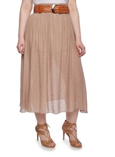 Plus Size Sheer Maxi Skirt With Woven Belt,BEIGE