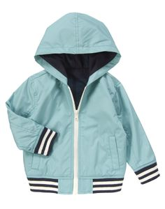 Stripes add sporty style to a jersey lined jacket.