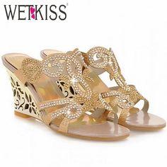 Big Size Women Sexy Wedge Sandals Fashion Rhinestone  Slides Patch Sandals Causal/Dating Women Flip-flops Women Shoes alishoppbrasil