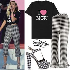 Miley Cyrus performed at One Love Manchester yesterday wearing the One Love Manchester 'I Heart MCR' T-Shirt (£20.00 – Net proceeds of the sale of all One Love Manchester Merchandise will be donated to the British Red Cross Society), a Topshop Gingham Frill Hem Trousers ($75.00) and SUSI Studio The Miley Platforms ($105.50 – for every purchase of these platforms SUSI will donate £5 of proceeds to the Manchester Emergency Fund by the British Red Cross).