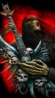 Foto Arte Heavy Metal, Iron Maiden Posters, Grim Reaper Art, Skull Pictures, Metal Skull, Skull Artwork, Skeleton Art, Skull Wallpaper, Type Illustration